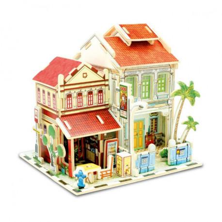 Мини Отель. Домик Сингапура пазл 3D, фанера с рисунком 3мм 14,2x12,4x14см 35элементов Rezark