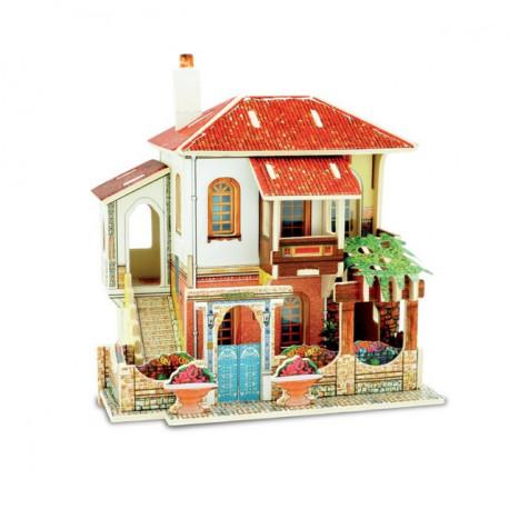 Таунхаус. Домик Турции пазл 3D, фанера с рисунком 3мм 14,8x11,9x15см 33элемента Rezark