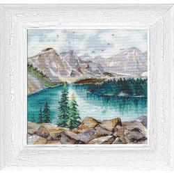 Озеро Морейн, набор для вышивания крестиком, 20х20см, мулине хлопок 26цветов Овен