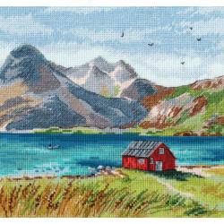 Лофотенские острова, набор для вышивания крестиком, 20х20см, мулине хлопок 28цветов Овен