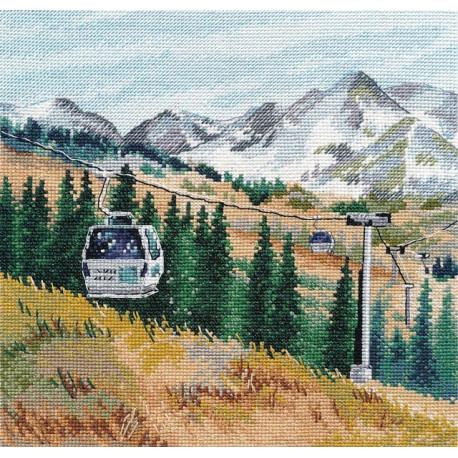 Гора Чимбулак, набор для вышивания крестиком, 20х20см, мулине хлопок 24цвета Овен