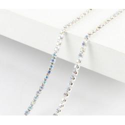 Перламутр, цепочка из стеклянных страз в цапах(серебро) 2,8мм SS10, 1м