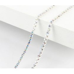 Перламутр, цепочка из стеклянных страз в цапах(серебро) 2мм SS06, 1м