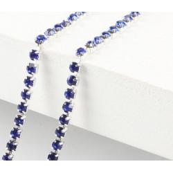 Синий, цепочка из стеклянных страз в цапах(серебро) 2,8мм SS10, 1м