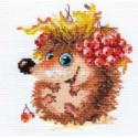 Осенний ежонок, набор для вышивания крестиком 11х12см 15цветов Алиса