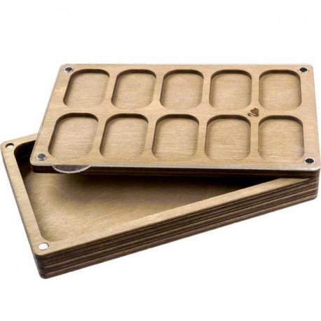Прямоугольник, 2 яруса, органайзер для бусин и бисера с проз крышкой 11ячеек 19,5х12х3,5см фанера ВС