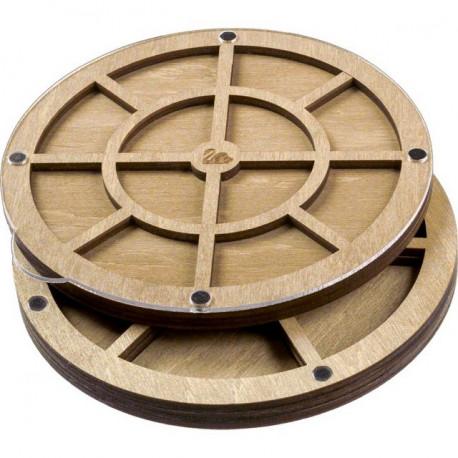 Круг, 2 яруса, органайзер для бусин и бисера с прозрачной крышкой 19ячеек 14х14х2,5см фанера ВС