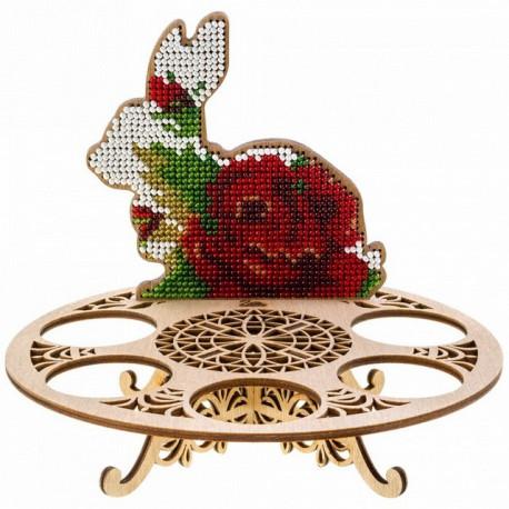 Подставка с кроликом, набор для вышивания бисером на перфорированной основе двп 13,5х15,5см 8цв ВС