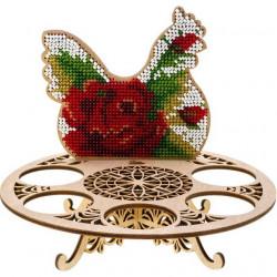 Подставка с курицей, набор для вышивания бисером на перфорированной основе двп 13х15,5см 8цв ВС