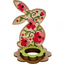 Кролик подставка под яйцо, набор для вышивания бисером на перфорированной основе двп 8х12,5см 7цв ВС