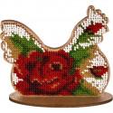 Курица с розой, набор для вышивания бисером на перфорированной основе двп 10х9,5см 8цв ВС
