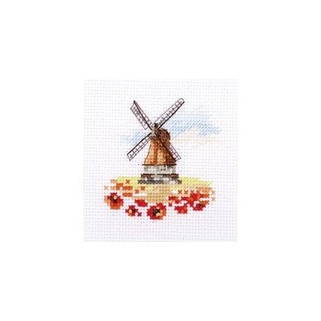 Мельница в маковом поле, набор для вышивания крестиком, 7х7см, 14цветов Алиса