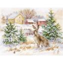 Зимний день. Заяц-русак, набор для вышивания крестиком, 23х17см, 27цветов Алиса