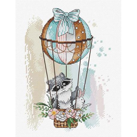 На цветном небосклоне, набор для вышивания крестиком 18х22см 22цвета Жар-птица