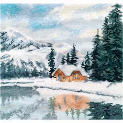 Озеро Луиз, набор для вышивания крестиком, 20х20см, мулине хлопок 19цветов Овен