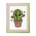 Маленький кактус, набор для вышивания крестиком, 8х10см, мулине хлопок 10цветов Овен