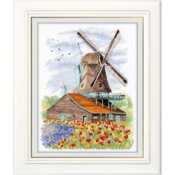 Ветряная мельница. Голландия, набор для вышивания крестиком, 19х24см, мулине хлопок 26цветов Овен