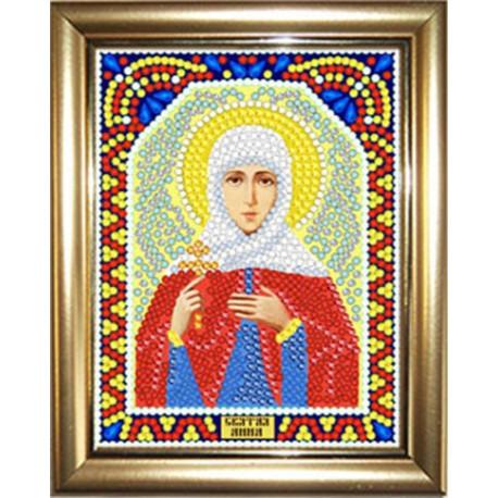 Анна, набор для изготовления иконы круглыми стразами 10,5х14,5см 10цв. рамка в наборе