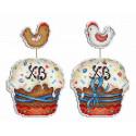 Пасхальный кулич, набор для вышивания крестиком на пластиковой канве 13х9см 16цветов Жар-птица