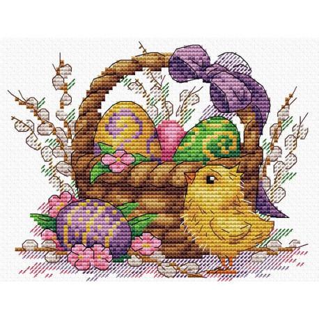 Праздничное лукошко, набор для вышивания 17х20см 21цвет Жар-птица