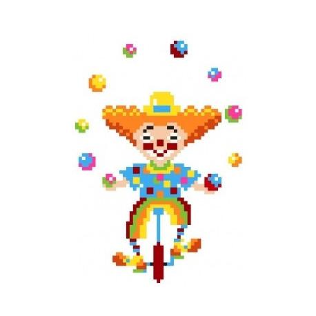Клоун, канва с рисунком для вышивки нитками 16х20см. Матрёнин посад