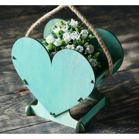 Сердце, цвет тифани, кашпо с веревочными ручками, 17,7х15х10,5см SL