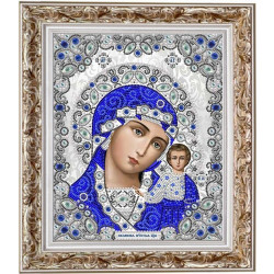 Казанская в серебре, ткань с рисунком для вышивки бисером 20х24см. Благовест