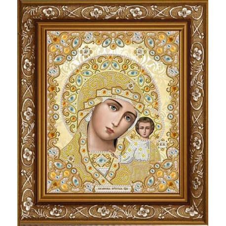 Казанская в белом, ткань с рисунком для вышивки бисером 20х24см. Благовест