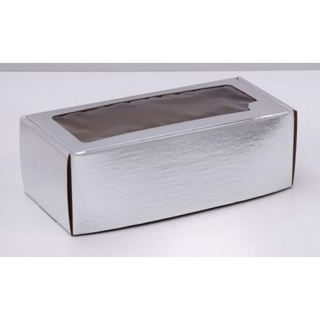 Коробка серебрянная с окошком, самосборная бесклеевая 16х35х12см АУ