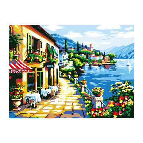 Кафе у побережья, картина по номерам на холсте 30х40см 19цв Original