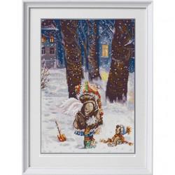 Зимнее счастье, ткань с рисунком для вышивки бисером 29х39см. Конёк