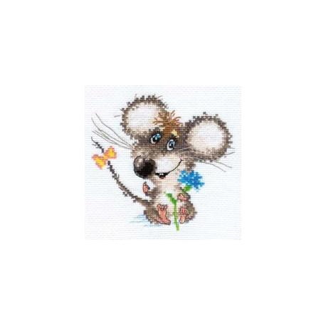 Влюбленный мышонок, набор для вышивания крестиком, 13х12см, 16цветов Алиса