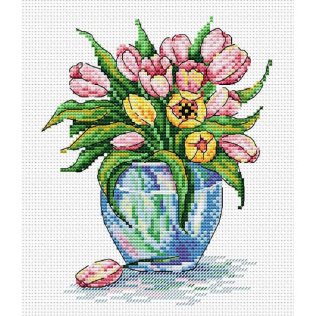 Нежные цветы, набор для вышивания 18х15см 16цветов Жар-птица