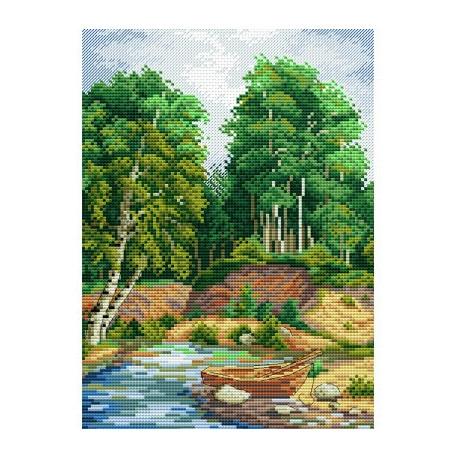 У берега реки, набор для вышивания 18х25см 24цвета Жар-птица