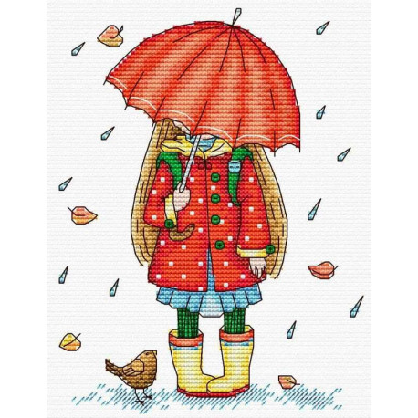 Осенняя прогулка, набор для вышивания 18х14см 18цветов Жар-птица