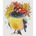 Осенняя пташка, набор для вышивания 18х14см 18цветов Жар-птица