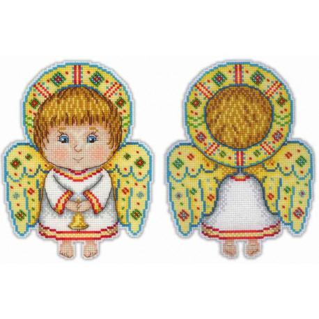 Ангел-хранитель, набор для вышивания крестиком на пластиковой канве 13х17см 20+4цветов Жар-птица