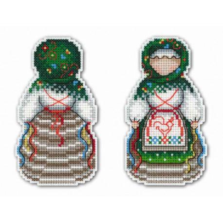 Оберег. Желанница, набор для вышивания крестиком на пластиковой канве 6х11см 19цветов Жар-птица