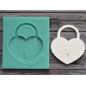 Замочек в форме сердца большой 4,2х4,7см, молд силиконовый универсальный АП