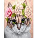 Кошечка в веночке, картина по номерам на холсте 40х50см 28цв Original