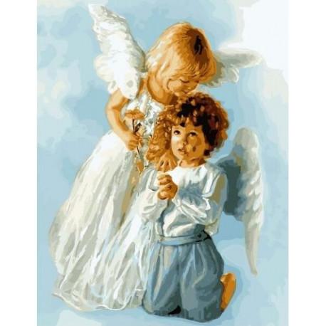 Небесные ангелочки, картина по номерам на холсте 40х50см 30цв Original