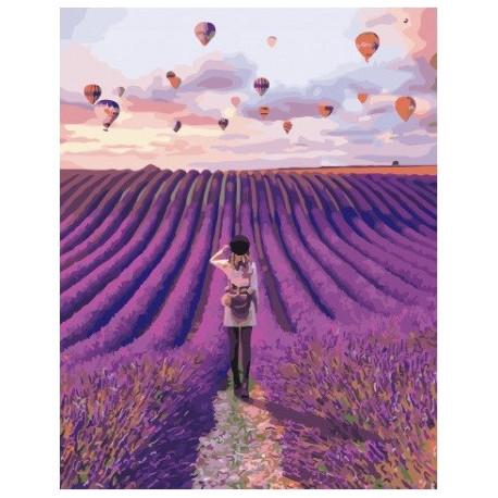 Воздушные шары над лавандовым полем, картина по номерам на холсте 40х50см 28цв Original