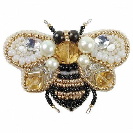 Пчёлка, набор для изготовления броши из бусин и бисера 6,5х5,5см Брошь ЧМ