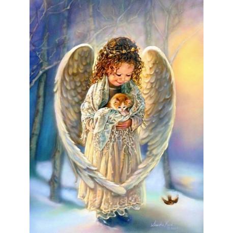 Ангелочек с котенком, картина по номерам на холсте 40х50см 28цв Original