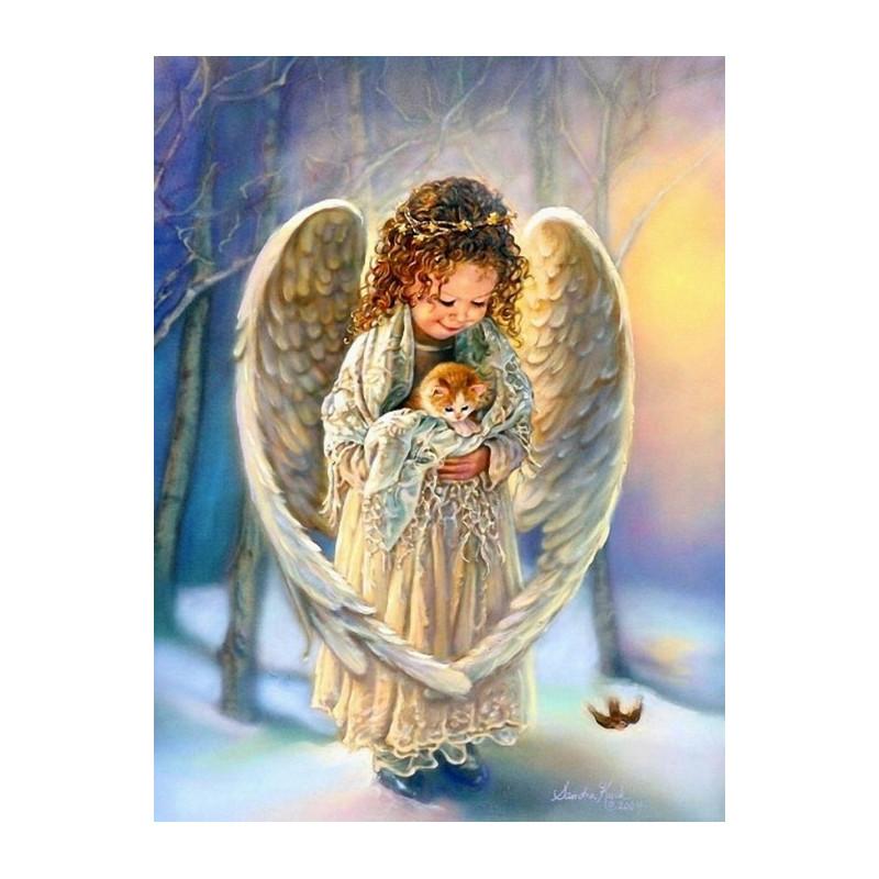 Ангелочек с котенком, раскраска по номерам на холсте ...
