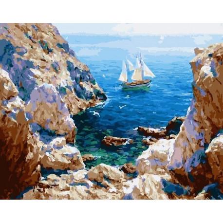 Парусник у берега, картина по номерам на холсте 40х50см 28цв Original