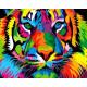 Разноцветный тигр, картина по номерам на холсте 40х50см 20цв Original