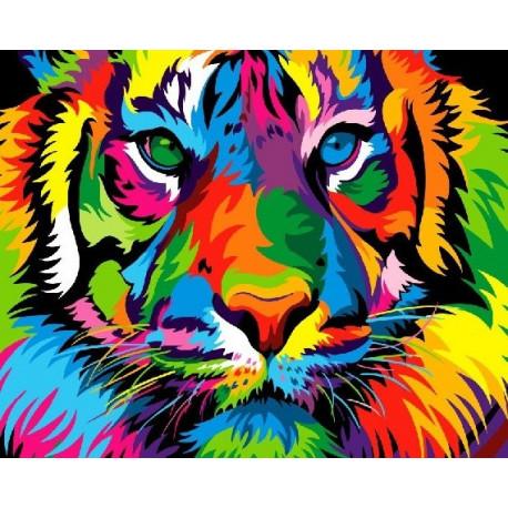 Разноцветный тигр, раскраска по номерам на холсте 40х50см ...