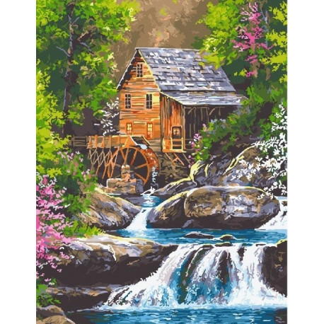 Мельница у реки, картина по номерам на холсте 40х50см 28цв Original