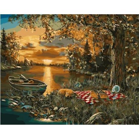 Привал рыбака, картина по номерам на холсте 40х50см 26цв Original